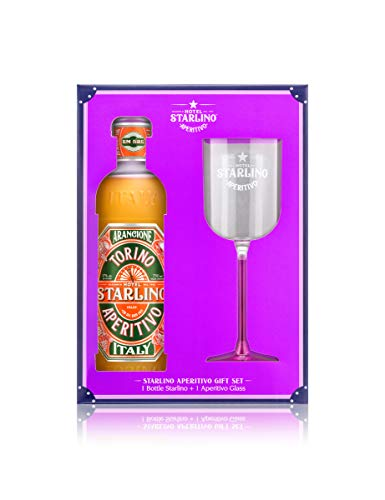 Hotel Starlino Arancione Aperitivo Spritz Gift Set with Aperitivo Glass - Made in Torino Italy - 75cl - 17% ABV