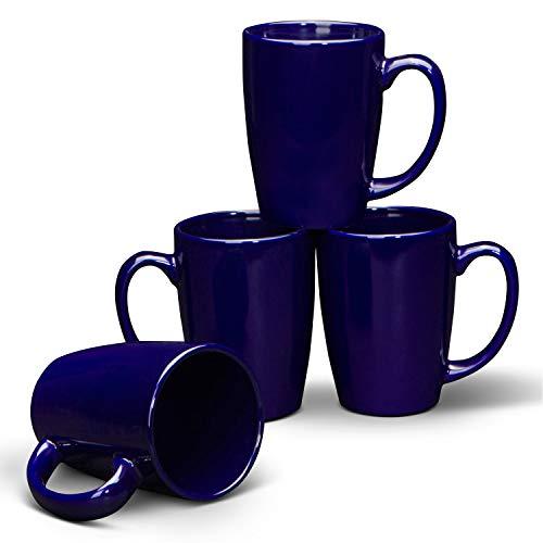 Tazas azules para café o té. Serami - Juego de 4 tazas con asas grandes
