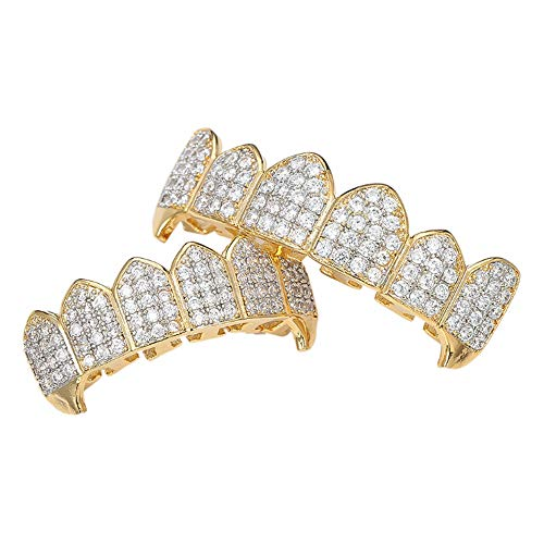 Selia Hip-Hop-Braces Vampire Fangs Micro-Inlay Zircon Gold Teeth Trend Dekorative Braces,Gold