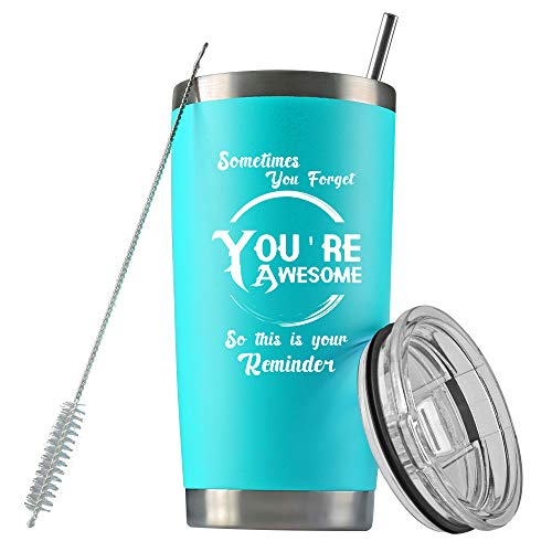 Encouragement Gifts for Men Women, Sometime You Forget You're Awesome, Best Sister Gifts, Thank You Gifts for Men Women, 20 OZ Vacuum Insulated Tumbler, Best Friend Birthday Gifts for Women