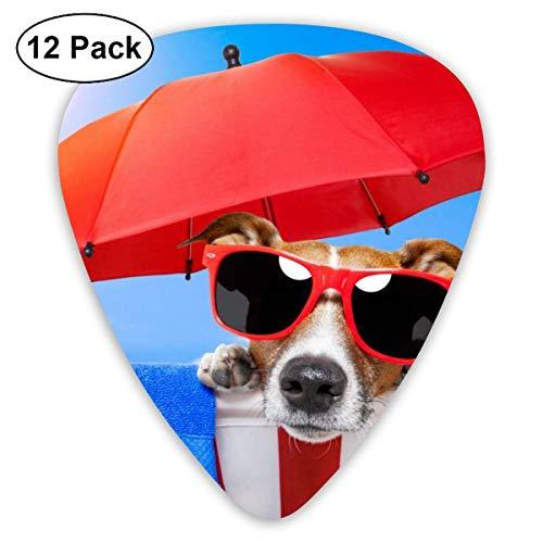 351 Form Classic Guitar Picks Dog Puppy Beach Sonnenbrille Umbrella Plectrums Instrument Standard Bass 12er Pack