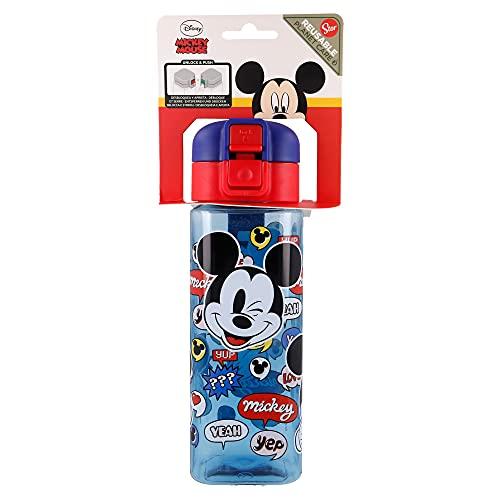Mickey Mouse   Botella Reutilizable infantil con Sistema Antigoteo y asa para transportar - Facil Apertura con botón - Libre de BPA- Material Ligero y Resistente - Capacidad 550 ml