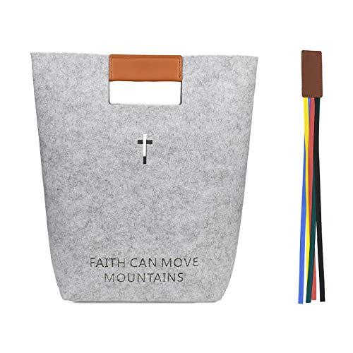 Bibeltasche mit Tabs, Damen/Herren/Christliche Handtasche für Kirche, zum Tragen von Heiligen/Geschenken (grau/Filz/extragroß)