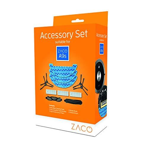 ZACO original Zubehör-Set passend für ZACO A9s Saug- und Wischroboter, inkl. Seitenbürsten, Hauptbürsten, Wischtücher und Filter