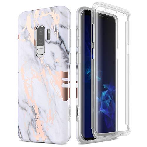 SURITCH Funda para Samsung Galaxy S9 Plus Silicona 360 Grados Marmol Oro Rosa Bumper Flexible TPU Elegante Delantera y Trasera Irrompible Anti Choque Carcasa Samsung Galaxy S9 Plus - Blanco y Negro