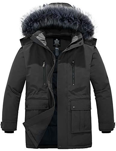 Wantdo Men's Winter Puffer Jacket Winter Coat Warm Parka with Hood Dark Grey M
