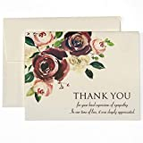 Funeral Thank You Cards With Envelopes - Sympathy Acknowledgement Thank You Cards Funeral - 20 Pack Bulk Set - Bereavement Thank You Cards - Folded Cards - Blank Inside For Message