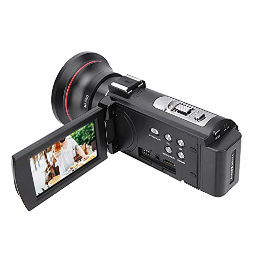 Cámara de Video Videocámara Full HD, 4K HD 16X WiFi Video Digital IR Visión Nocturna Vlogging Cámara grabadora 3.0 Pulgadas Pantalla IPS 16X Zoom Videocámaras Cámara(NEGRO1)