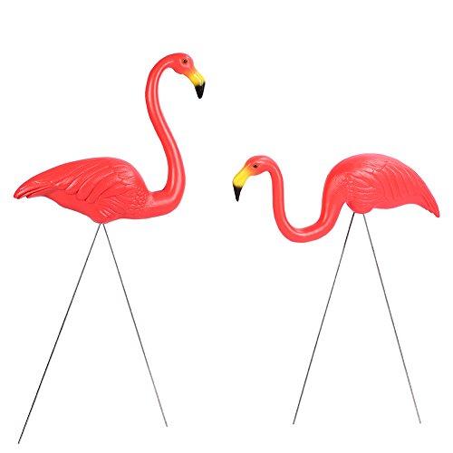 GOTOTOP 2 Pcs Flamant Rose de Décoration de Jardin Flamingo en Plastique de Pelouse Ornements