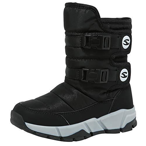 [ホビベアー] スノーブーツ キッズ ジュニア ウインターブーツ スノーシューズ 防寒靴 雪靴 冬用(ブラック 31)