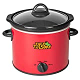 Nostalgia Taco Tuesday 4-Quart Fiesta Slow Cooker With Tempered Glass Lid, Cool-Touch Handles, Removable Round Ceramic...