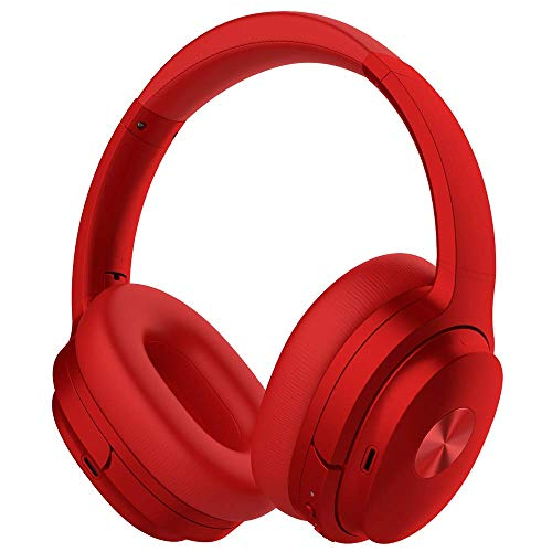 Cowin SE7 Active Noise Cancelling Bluetooth Kopfhörer Kabellos Kopfhörer Over Ear mit Mikrofon/Aptx, Bequeme Protein-Ohrpolster 50H Playtime, Faltbare Kopfhörer für Reisen/Arbeiten (Rot)