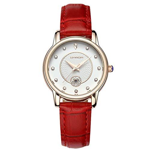 GLEMFOX dames kwartshorloges dames waterdichte horloges klassieke comfortabel leer dameshorloges prachtige verpakking Riemen. rood