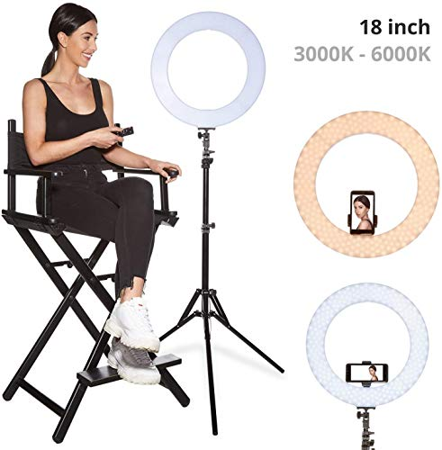 Inkeltech Ring Light - 18 inch 60 W Dimmable LED Ring Light Kit with Stand - Adjustable 3000-6000 K...
