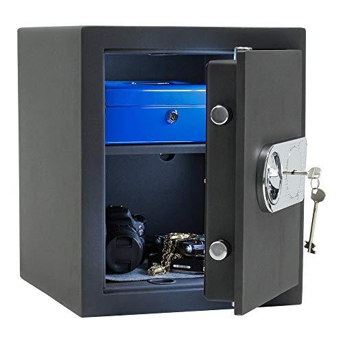 SafeHero Möbeltresor Klasse 1 EN 1143-1 Secureo Falcon 3 | H420xB350xT380 mm | 43 kg | Schlüsselschloss | Feuerfalz für Basis-Feuerschutz | Platz für 3 Ordner