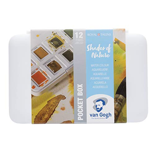 Van Gogh Watercolor Paint Set, Plastic Pocketbox, 12-Half Pan Shades of Nature Selection