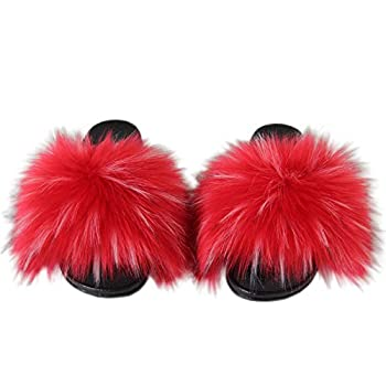 Best red fluffy slides Reviews