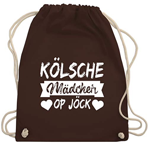 Shirtracer Karneval & Fasching - Kölner Sprichwort - Kölsche Mädcher op Jöck - weiß - Unisize - Braun - turnbeutel rot weiß - WM110 - Turnbeutel und Stoffbeutel aus Baumwolle