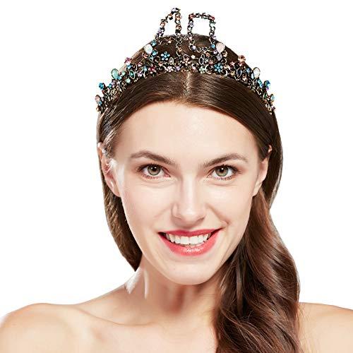Coucoland Geburtstag Krone Bunt Edelstein Damen Mädchen Geburtstag Diadem Prinzessin Tiara Birthday Crown Geschenk für Geburtstagskind Glücklicher 40 Geburtstag (Bunt 40)