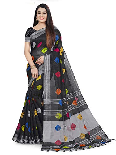 Rajnandini Women's Bandhani Linen & Cotton Saree With Blouse Piece (B08J7PPJ4C_Black)