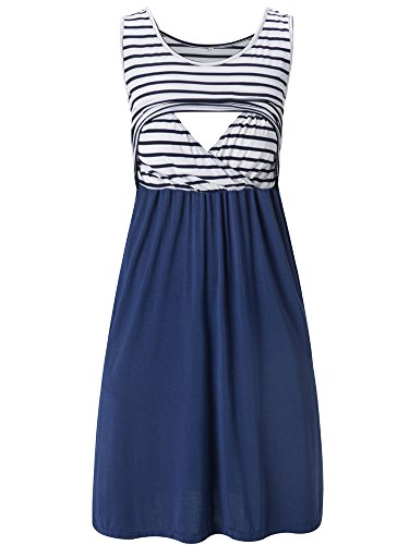 Liu & Qu Women's Sleeveless Nursing Stripe Dress Maternity Dress Breastfeeding Clothes Navy