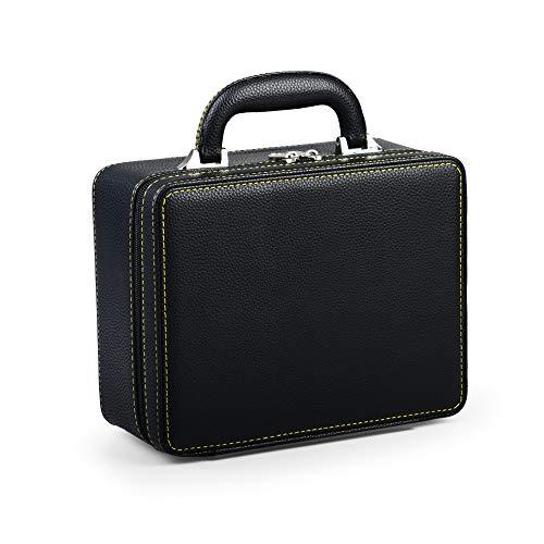 Oirlv Black Leather Travel Jewelry Box Jewelry Storage Case