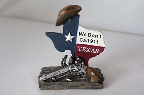 Texas Map Pistol Horseshoe 'We don't call 911' Business Cards Holder Home Office Decoration