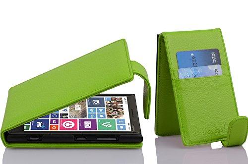 Cadorabo Hülle für Nokia Lumia 929/930 - Hülle in Apfel GRÜN – Handyhülle aus Strukturiertem Kunstleder im Flip Design - Case Cover Schutzhülle Etui Tasche