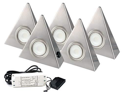 5er Set LED Dreieckleuchte Unterbauleuchte Küchenleuchte EDELSTAHL 2,7W Warmweiß mit Zentralschalter