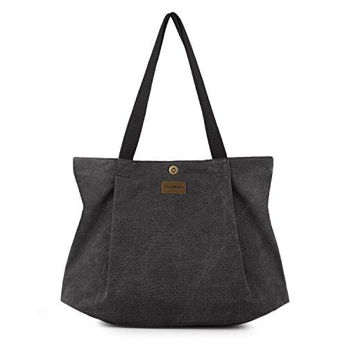 SMRITI Canvas Shopper Tasche Schultertasche für Schule Reisen Arbeit und Einkäufe, 1 Schwarz, Groß