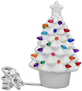 Creative Hobbies Ready To Paint Ceramic Bisque, Christmas Tree, Small 9 Inch Tall, Includes Electrical Cord, Bulb, Multi-colored Twists & How To Paint Booklet
