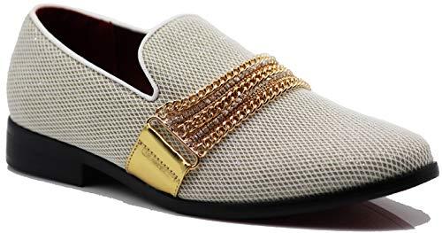 Enzo Romeo Plum05 Men's Dress Loafers Elastic Slip on with Buckle Fashion Shoes (10.5 D(M) US, Black/Black)