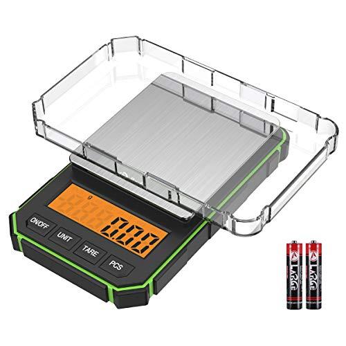 ORIA Küchenwaage, Hochpräzise Kleine Waage 300g x 0.01g, Mini Digitalwaage mit Hintergrundbeleuchtung und Tabletts, Schmuckwaage mit Tara und PCS-Funktion (Inklusive 2 AAA Batterie)