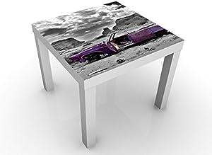 Apalis Tavolino Design Pink Cadillac 55x55x45cm, Tischfarbe:Schwarz;Größe:55 x 55 x 45cm