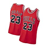 XMYM Camisetas de Baloncesto Michael Jordan para Hombre Chicago Bulls 23#, Jersey de Baloncesto Swingman Bordado Retro, Camisas Deportivas de Malla Transpirable Fresca-Red-S