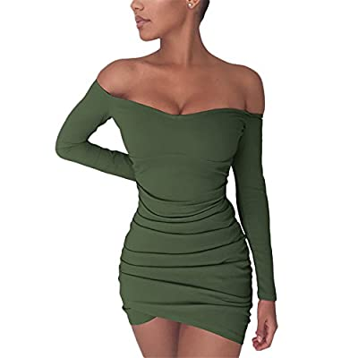 Chemenwin Women's Sexy Off Shoulder Long Sleeve Club Bodycon Tight Short Mini Tunic Dress