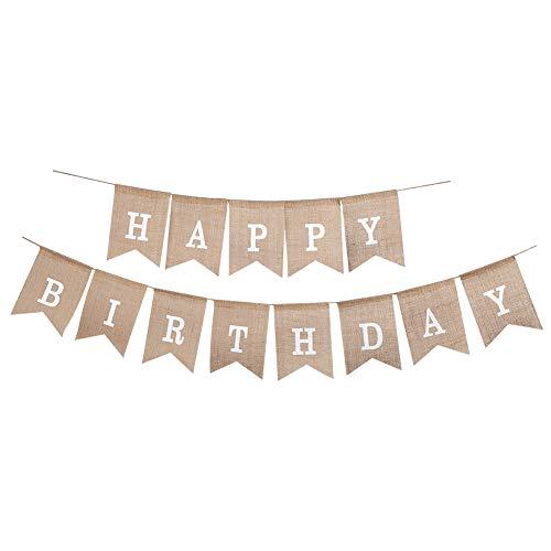 Soleebee 13 pièces Bannière Banderole de Toile de Jute, Décoration de Bricolage Parfaite Drapeau Triangle pour Mariage, Douche de bébé, Anniversaire, Fête et Vacances (Happy Birthday Blanc)