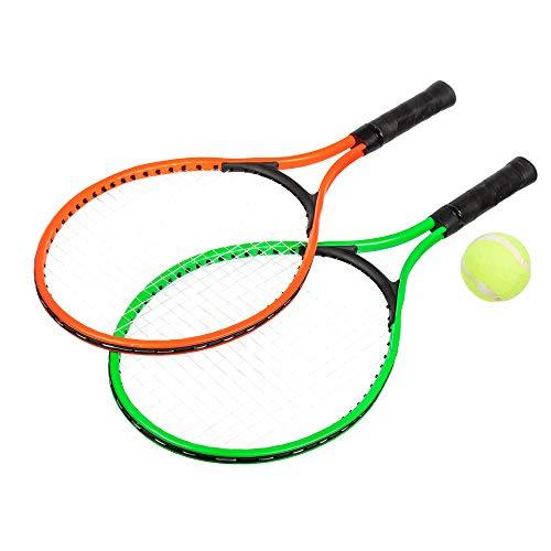 Invero Juego de tenis para niños, 2 jugadores, 23 pulgadas, incluye juego de raquetas de aluminio, pelota de tenis y bolsa de transporte, color verde y naranja