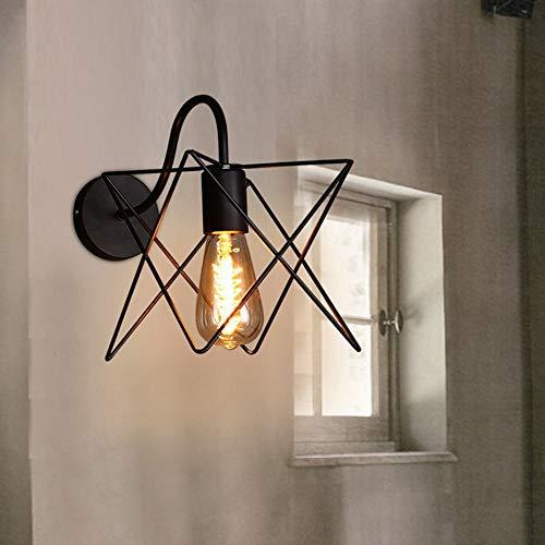 Iron Art Star - Aplique de pared de estilo moderno y creativo con luz LED para restaurante, café, águila, color negro