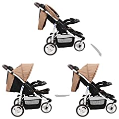 vidaXL wózek 3-kołowy buggy jogger samochód sportowy samochód sportowy buggy podróż buggy dzieci samochód dziecko dziecko samochód taupe czarny