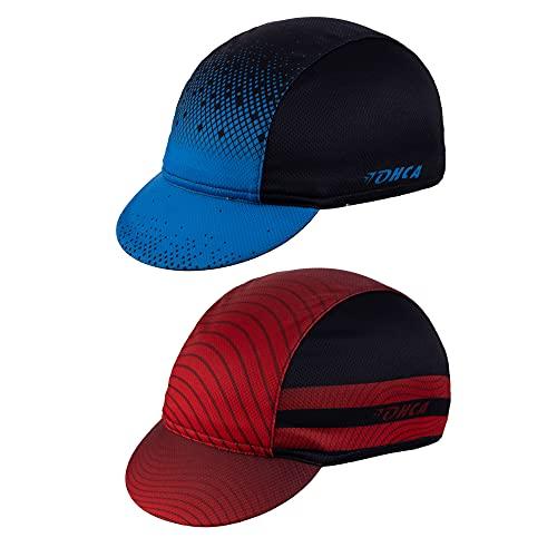 Lohca 2 Pack Unisex Cycling Cap Breathable Bicycle Helmet Liner Sweat Absorbent Bike Hat Sun Visor for Men Women Outdoor Sports, Blue&Black + Red&Black