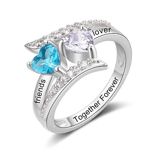 Personalisierte Verlobung Ehesilberne Ringe für Frauen mit 2 -Herz Simulierter Birthstone und Name Ringe zu Paare -Promi -Ring für sie und Geburtstag Geschenk für sie und Mum nach Maß Geschenke