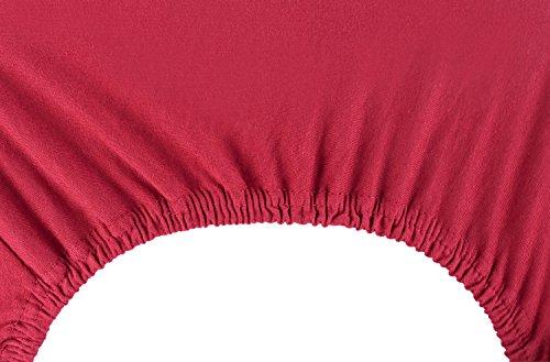 DecoKing 18804 80×200-90×200 cm Spannbettlaken Bordeaux 100% Baumwolle Jersey Boxspringbett Spannbetttuch Bettlaken Betttuch Maroon Nephrite Collection - 6