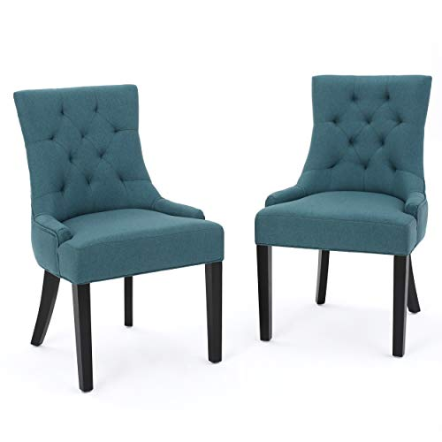 Christopher Knight Home 299537 Hayden Fabric Dining Chairs, 2-Pcs Set, Dark Teal