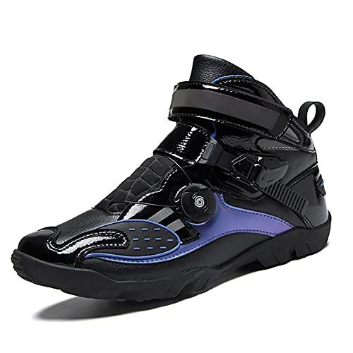 RTY Zapatillas de Ciclismo sin Clic, Cordón rápido, Suela de Goma, 36-48,Azul,47