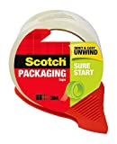Scotch Sure Start Shipping Tape with Dispenser, 1.88 in. x 38.2 yd., Clear, 1 Dispenser/Pa...