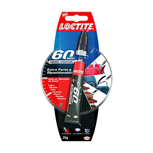 Loctite 60 Secondi Colla Universale, adesivo forte per riparazioni domestiche che incolla in 60 secondi, colla gel trasparente per molti materiali diversi, 1x20g tubetto