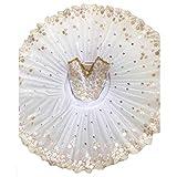 Mädchen Schwan Ballett Kleid Tanz Tutu Kurzes Kleid Ärmellos Pailletten Gold Blätter Princess Performance Costumes, Weiß