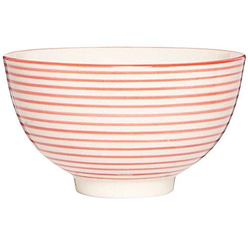IB Laursen - Schale, Bowl, Schüssel, Schälchen, Müslischale - Casablanca Stripes - rot/Creme - Ø: 11,7 cm - Höhe: 6,5 cm - Steingut