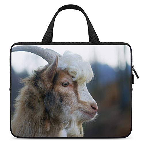 Laptop Sleeve Compatible with 15.6 Inch Curly Hair Goat Goats Farm Animal Computer Carrying Case Water Repellent Protective Bag for Notebook, MacBook, Chromebook, Gifts for Men Women
